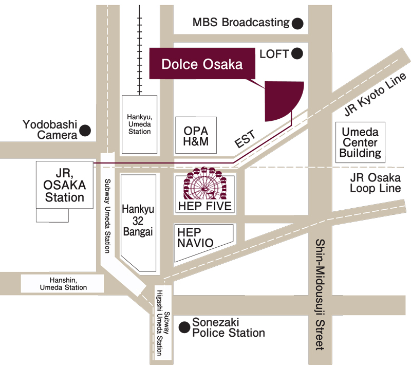 dolce osaka map